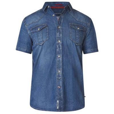 D555 košile pánská MIKE nadměrná velikost jens džínová riflová