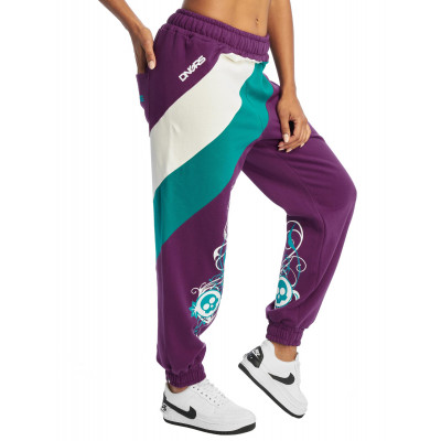 Dangerous DNGRS kalhoty dámské Sweat Pant Skull in purple tepláky