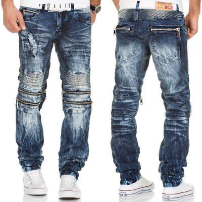 KOSMO LUPO kalhoty pánské KM143 jeans džíny zipy