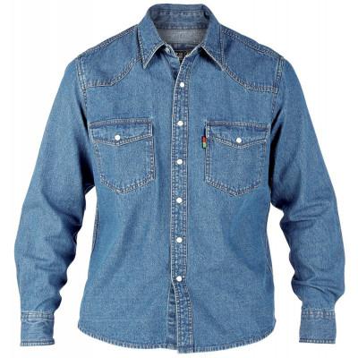 Duke košile pánská Western Style Denim Shir riflová nadměrná velikost