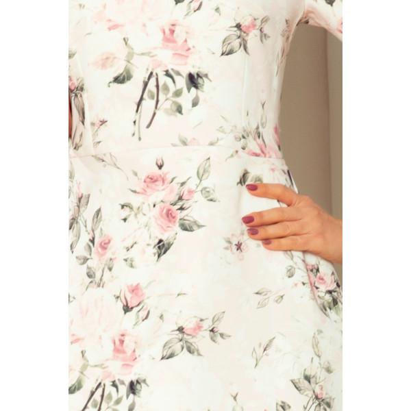 235-1 Sukienka z falbankami i wiązaniem na rękawkach - PASTELOWE KWIATY