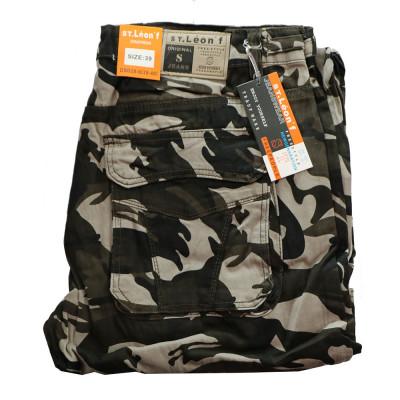 ST. LEONF kalhoty pánské DS20-6 kapsáče nadměrná velikost maskáče