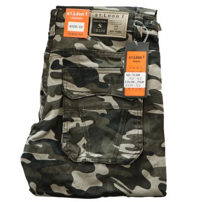 ST. LEONF kalhoty pánské TC6 kapsáče nadměrná velikost maskáče