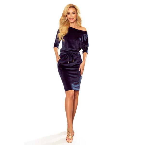 NUMOCO šaty dámské 13-130 velur zavazování kapsy