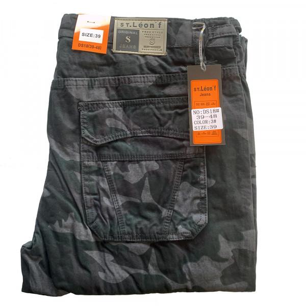 ST. LEONF kalhoty pánské DS18 kapsáče nadměrná velikost maskáče