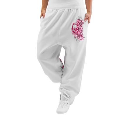 Dangerous DNGRS kalhoty dámské Sweat Pant Pink in white tepláky