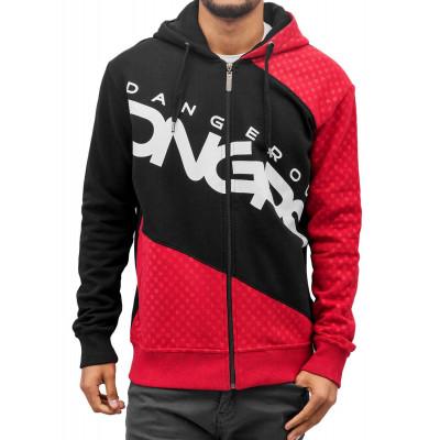 Dangerous DNGRS mikina pánská Zip Hoodie Big Logo in black nadměrná velikost