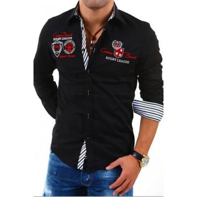CARISMA košile pánská 8004 dlouhý rukáv slim fit černá